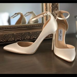 Jimmy Choo Lucy 100 ivory satin pumps